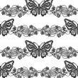 Butterfly and floral black lace seamless pattern on white background — Stock Photo #38199719