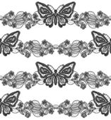 Butterfly and floral black lace seamless pattern on white background — Stock Photo