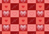Valentine's day seamlss pattern. Lace butterfly and flowers ornament hearts. — Stock Photo