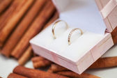 Two golden wedding rings in the box — Stock Photo