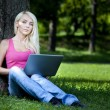 Beautiful young blond woman sitting outdoor — Stock Photo #28863361