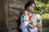 Beautifu ukrainian girl in traditional dress — Stock Photo