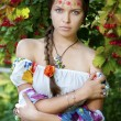 Beautifu ukrainian girl in traditional dress — Stock Photo