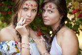 Two beautiful rural women — Stock Photo