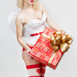 Young blond woman in angel costume — Stock Photo #29425055
