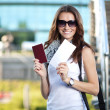 Cheerful young woman tourist — Stock Photo