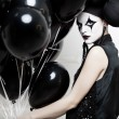 Mime stylized fashion close-up partrait — Stock Photo