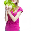 Young beautiful blond woman holding salad — Stock Photo #30500865