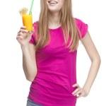 Young beautiful blond woman drinking orange juice — Stock Photo #30509979
