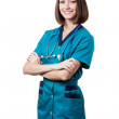 Beautiful brunette woman medical worker — Stock Photo #31025209