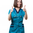 Beautiful brunette woman medical worker — Stock Photo #31025223
