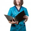 Beautiful brunette woman medical worker — Stock Photo #31025225