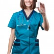 Beautiful brunette woman medical worker — Stock Photo #31025227