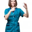Beautiful brunette woman medical worker — Stock Photo #31025243