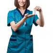 Beautiful brunette woman medical worker — Stock Photo #31025263