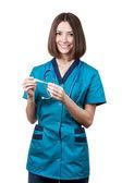 όμορφη μελαχρινή γυναίκα ιατρική εργαζόμενος — Φωτογραφία Αρχείου