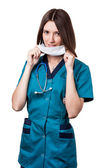 Beautiful brunette woman medical worker — Stock Photo