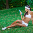 Young beautiful brunette sportswoman outdoor — Foto Stock