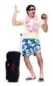 トラベル バッグを持つ若者の完全な長さ — ストック写真