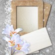 Grunge frame with lilies and paper — Stock Photo