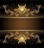 Background with stars and golden ornament — Stockvektor