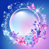 Flowers and bubbles — Stock Vector