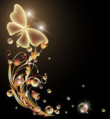 Glowing background with flowers and butterfly — 图库矢量图片