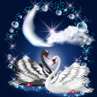 Two swans and moon — Stock Vector