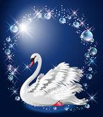 Burbujas y elegante cisne blanco — Vector de stock