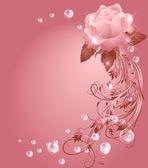 Róża, gwiazda i pęcherzyki — Wektor stockowy