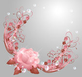 Rosa, estrella y burbujas — Vector de stock