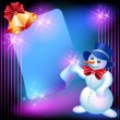 Snowman, chiming bells and signboard - Stock vektor