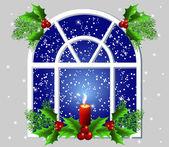 圣诞窗口 — 图库矢量图片