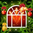 Royalty-Free Stock Vector Image: Christmas window with bells