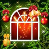Kerst venster met klokken — Stockvector