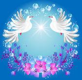 Dos palomas y flores — Vector de stock