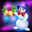 Snowman and bells — Stock vektor