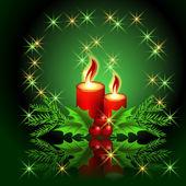 Vánoční hořící svíčka — Stock vektor