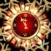 编钟和圣诞 fir 分支 — 图库矢量图片