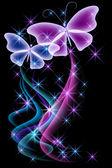 Kouř a motýl — Stock vektor