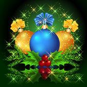 Estrellas y bolas de navidad — Vector de stock