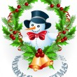 Snowman and Christmas garland — Vector de stock