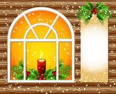 Vánoční okno a zdobené papíry pro text — Stock vektor