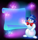 Snowman and scroll for text — Stock Photo