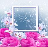 Bloemen en en portretlijst — Stockfoto