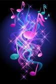 Fondo brillante con notas musicales — Vector de stock