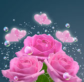 Pink roses and hearts — Stock Photo