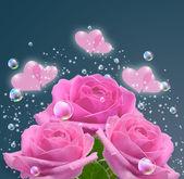 Růžové růže a srdce — Stock fotografie