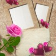Stock Photo: Grunge frame with roses, hearts and paper