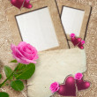 Grunge frame with roses, hearts and paper — Stock Photo